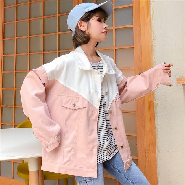 2933d01539e Jean Jacket 2018 Colorblock Denim Jacket Female Spring Autumn Korean  Students Long Sleeved Loose Coat College