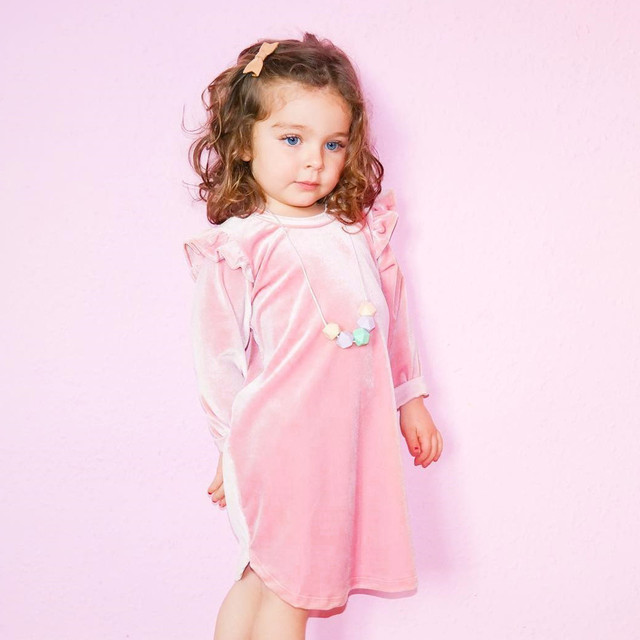 Girls Dress Autumn Toddler Baby Girls Long Sleeve Velvet Dresses Children  Pink Fly Sleeve Dress Princess 86c58c6e7f33