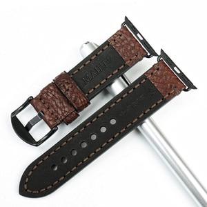Image 4 - MAIKES wysokiej jakości skóra bydlęca dla Apple Watch Band 42mm 38mm seria 4/3/2/1 czarny pasek iWatch 44mm 40mm bransoletki od zegarków
