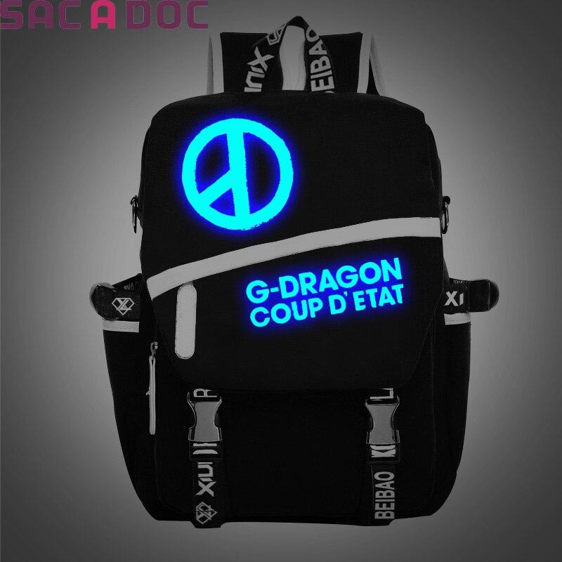 BIGBANG sac à dos lumineux Style coréen toile école sac à dos pour adolescents mode GD BIGBANG impression sacs de voyage