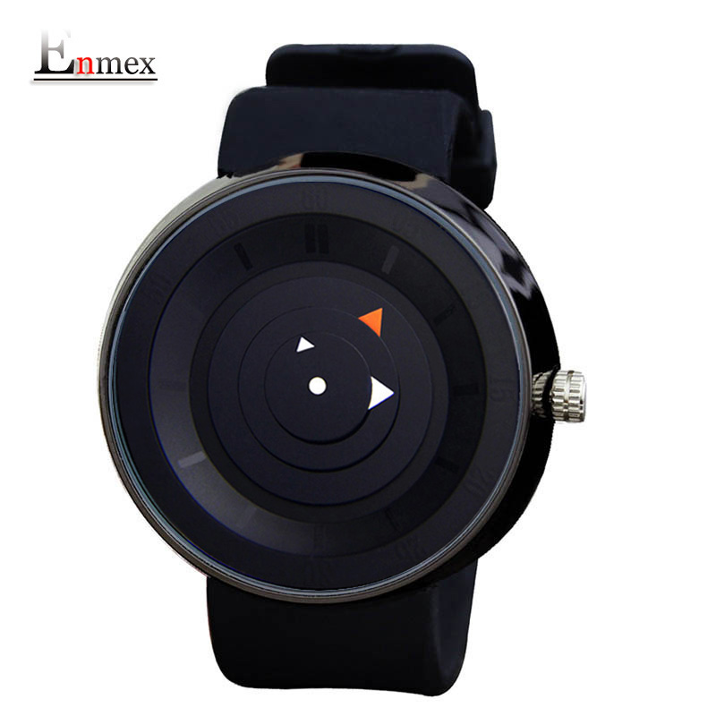 2016 men's gift Enmex men women creative  brief wristwatch  waterproof  simple design light sports casual fashion quartz watches 2017 gift enmex creative simple design brief face with a red pointer steel band water prof young and fashion quartz watch