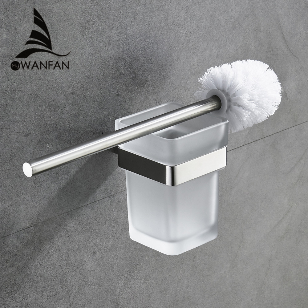 Modern Toilet brush holder Stainless Steel SUS 304 Mounting Seat Square Style Glass Cups Bathroom Hardware Fitting 610009Modern Toilet brush holder Stainless Steel SUS 304 Mounting Seat Square Style Glass Cups Bathroom Hardware Fitting 610009