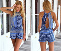 Printing Sexy Halter Rompers Womens Jumpsuit Sexy Summer Sleeveless Jumpsuit Bodysuit Slim One Piece Romper