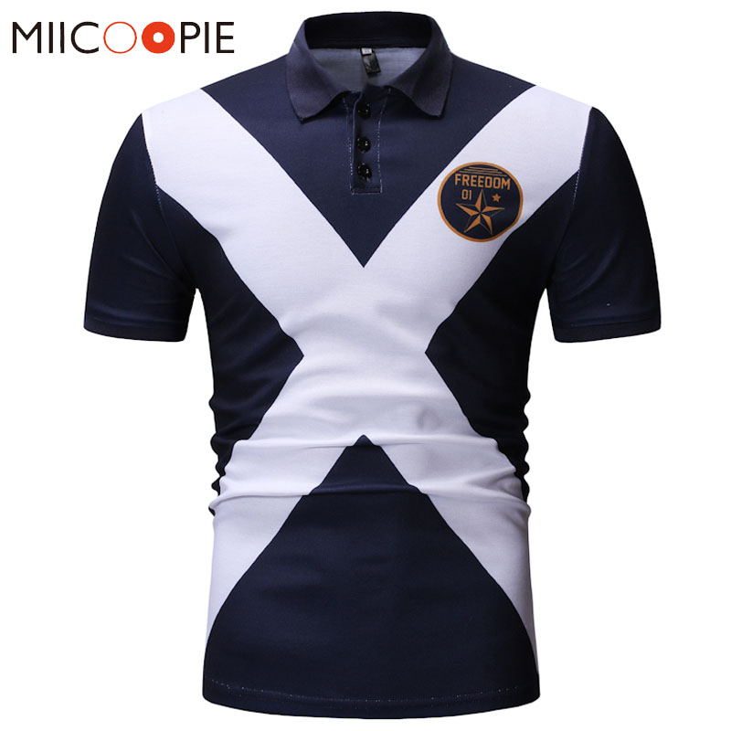 Casual Polo Shirt Male Summer Fashion New Men's Contrast Color Short Sleeved Jerseys Slim Fit Turn Down Collar Polo Shirt XXXL