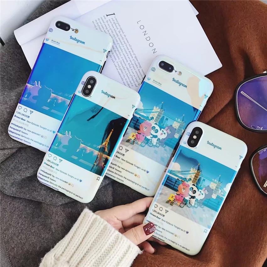 Laser <font><b>Blu-ray</b></font> Cute Cartoon Bear Rabbit Panda Duck <font><b>Tourist</b></font> Landscape Phone Case For iphone X 8 7 6s plus Glossy Soft TPU Cover