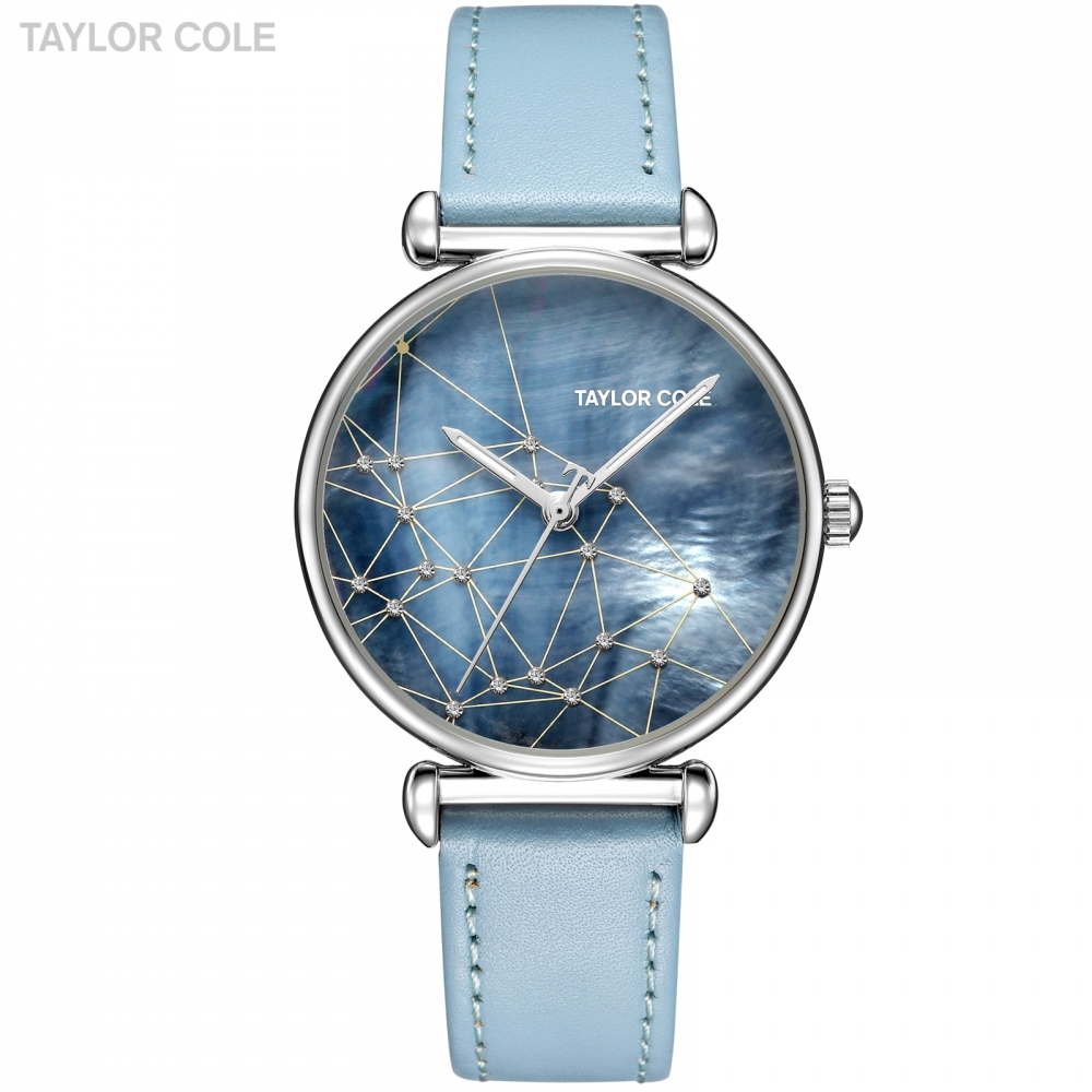 Taylor Cole New Design Women Watch Saat Silver Crystal Case Watches Blue Leather Strap Emontre Femme Vintage Quartz Watch /TC141 taylor cole relogio tc013