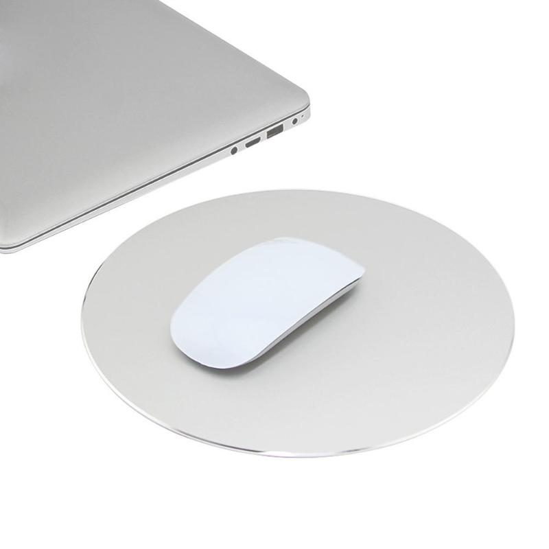Round Aluminum Alloy Metal Mouse Pad Computer Table Mats Anti Slip Gaming Mousepad for PC Computer Laptop