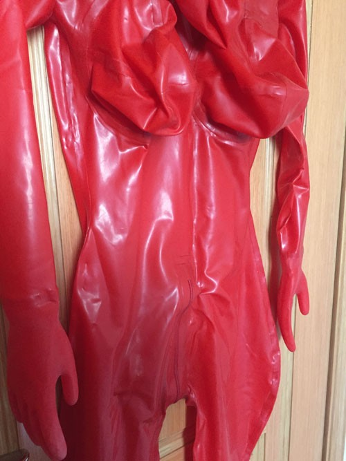 Crazy club_Sexy customize Women Wet Look Sexy Fetish Latex Catsuit With Inflatable Breasts Black Rubber Bodysuits Sale on line 5