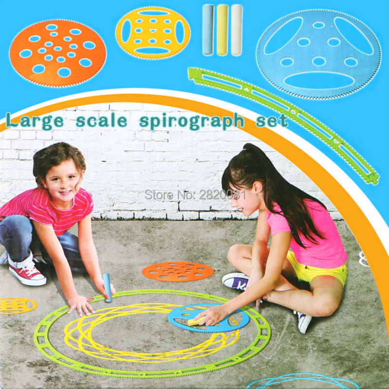 NEW Large Scale Spirograph Set Outdoor/indoor Large Drawing Toy 9 Stencils&3 Chalk,Draw Spiral Designs Artist Studio For All Kid