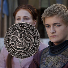 2019 Game of Thrones Badge Spilla Canzone del Ghiaccio e del Fuoco Vintage Targaryen Drago Spille Spilla Unisex cosplay Puntelli all'ingrosso(China)
