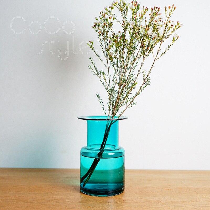 Cocostyles InsFashion magnifique et accrocheur vase en verre bleu pour décor à la maison de style danois et décor plat - 2