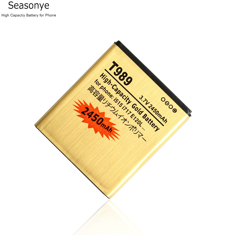Seasonye 5pcs/lot 2450mAh EB-L1D7IBU /A EB585157VA / K Gold Replacement Battery For Samsung T-Mobile Galaxy SII S2 T989 i515
