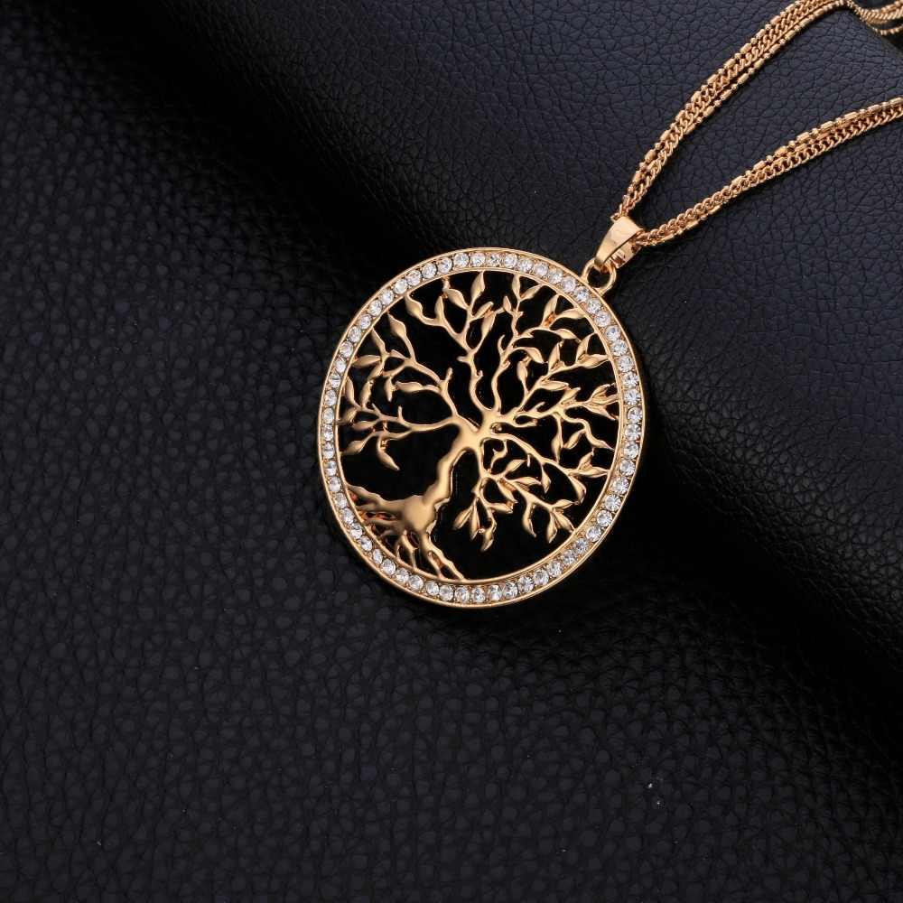 Wisior drzewo życia naszyjnik duży okrągły złoty urok wielowarstwowy długi naszyjnik łańcuszkowy dla kobiet sweter biżuteria Party prezenty