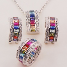 Morganite Blue Crystal Zircon Garnet 925 Sterling Silver Jewelry Set Pendant Earrings Ring