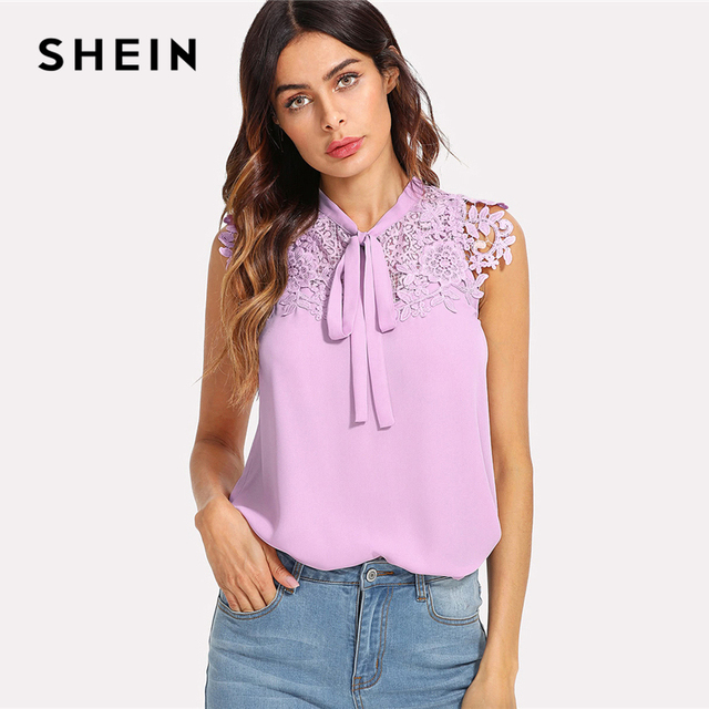 0d24daaf56887 SHEIN Guipure Lace Applique Tied Neck Top 2018 Summer Purple Stand Collar  Sleeveless Blouse Women Casual
