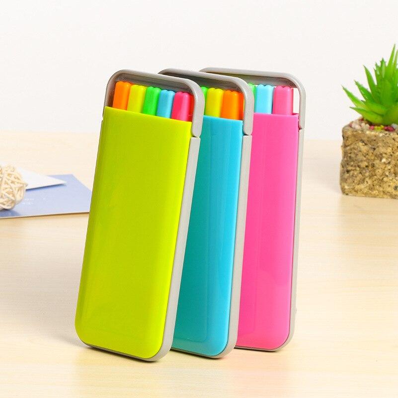 5 Pcs Color Highlighter Marker Pen Set Mini Portable Stationery Office Accessories School Supplies Material Escolar DB158
