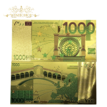 10pcs/lot Colored Euro Banknotes 1000 EUR Gold in 24K Plated Fake Paper Money for Collection