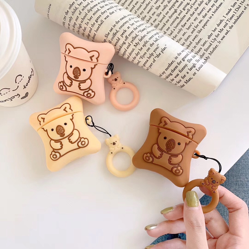 3D Cookie Bear Earphone Case For Apple Airpods 1 2 Case Luxury Funda For Airpods Coque Cover Soft Headset Case For Earpods Etui