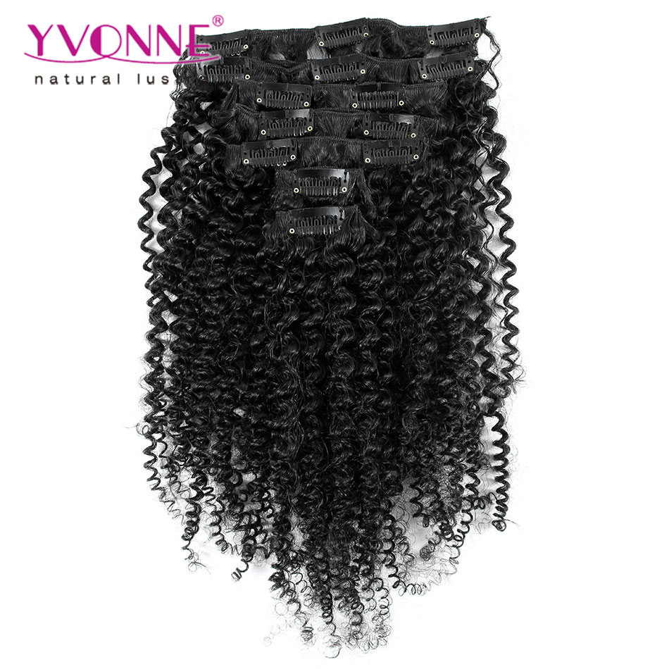 Aliexpress Yvonne Brazilian Virgin Hair Clip In Human Hair Extensions, 7Pcs/set Kinky Curly Clip In Hair Extensions, Color 1B