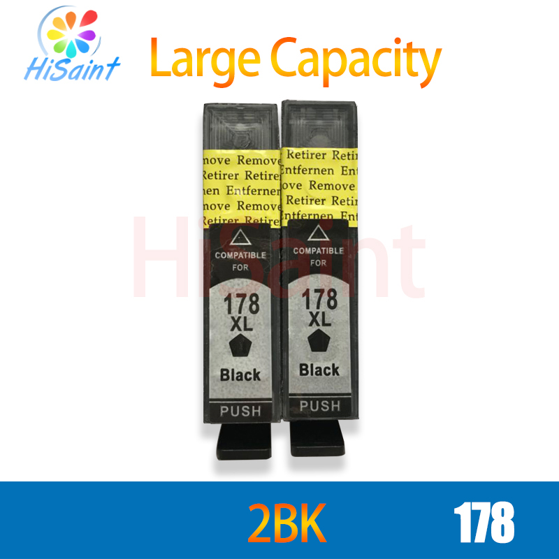 (hisaint) 2Pcs Black For <font><b>HP</b></font> <font><b>178</b></font> 178XL For HP178 Ink Cartridges Photosmart B8553 C5383 C6383 D5463 B010 B109c B110a B209b B210 image