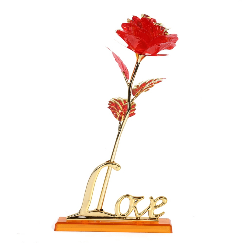 Valentine 39 s Day Creative Gift Rose Gold Rose Lasts Forever Love Wedding Decor Lover Lighting Rose Gift in Gift Bags amp Wrapping Supplies from Home amp Garden