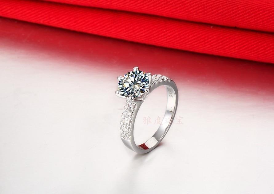 Классическое 6 зубцов проложили муасанит полу безразмерное кольцо положительное 2CT твердое 750 Белое золото Кольцо Синтетические бриллианты ювелирные изделия 750 золото