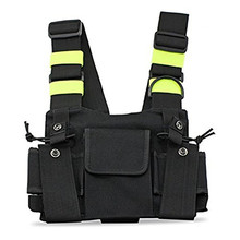 Bright Green Radio Chest Harness Chest Front Pack Pouch Holster Vest Rig Carry Case for Baofeng TYT Wouxun Walkie Talkie Radio