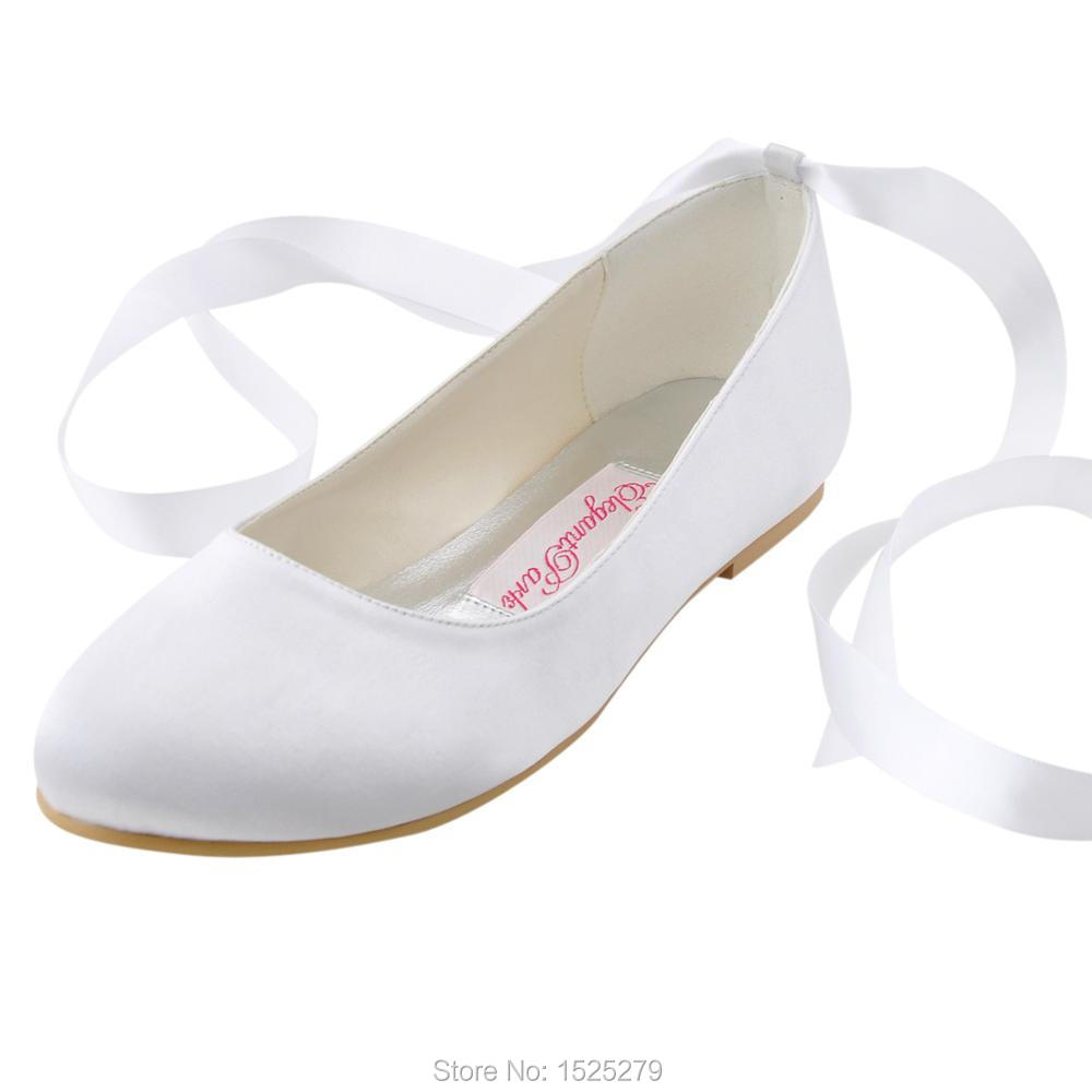 d919a8399 EP11105 Ivory White Lace-up Bride Bridal Party Round Toe Comfort Ribbons  Satin Lady Women Wedding Flats Shoes