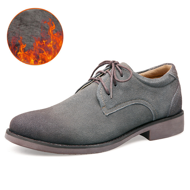 38-47 Winter Shoes Men Cow Suede Winter Men Shoes Casual Plush Warm Oxfords Shoes For Men High Quality top brand high quality genuine leather casual men shoes cow suede comfortable loafers soft breathable shoes men flats warm
