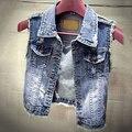Moda Lapela Casuais calças de Brim das mulheres Colete Estilo Curto Denim Colete Outerwear