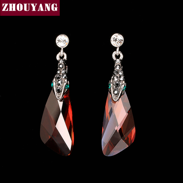ZHOUYANG Top Quality ZYE159 Snake Red Crystal  White Gold Plated Stud Earrings Jewelry   Austrian Crystal Wholesale
