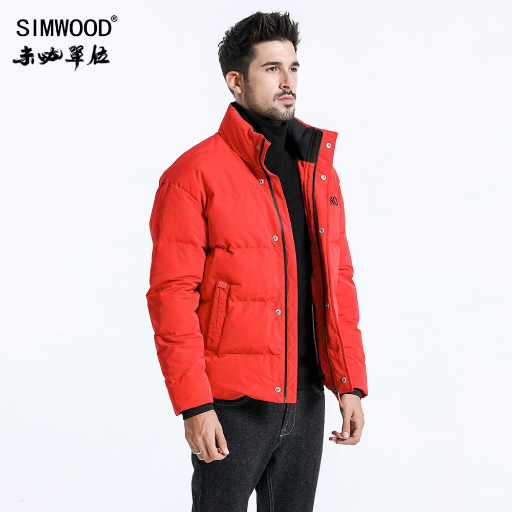 SIMWOOD Winter New Slim Fit Short Puffer Jacket Men Stand Collar   Parka   Fashion High Quality Clothes Outwear Coats 180596