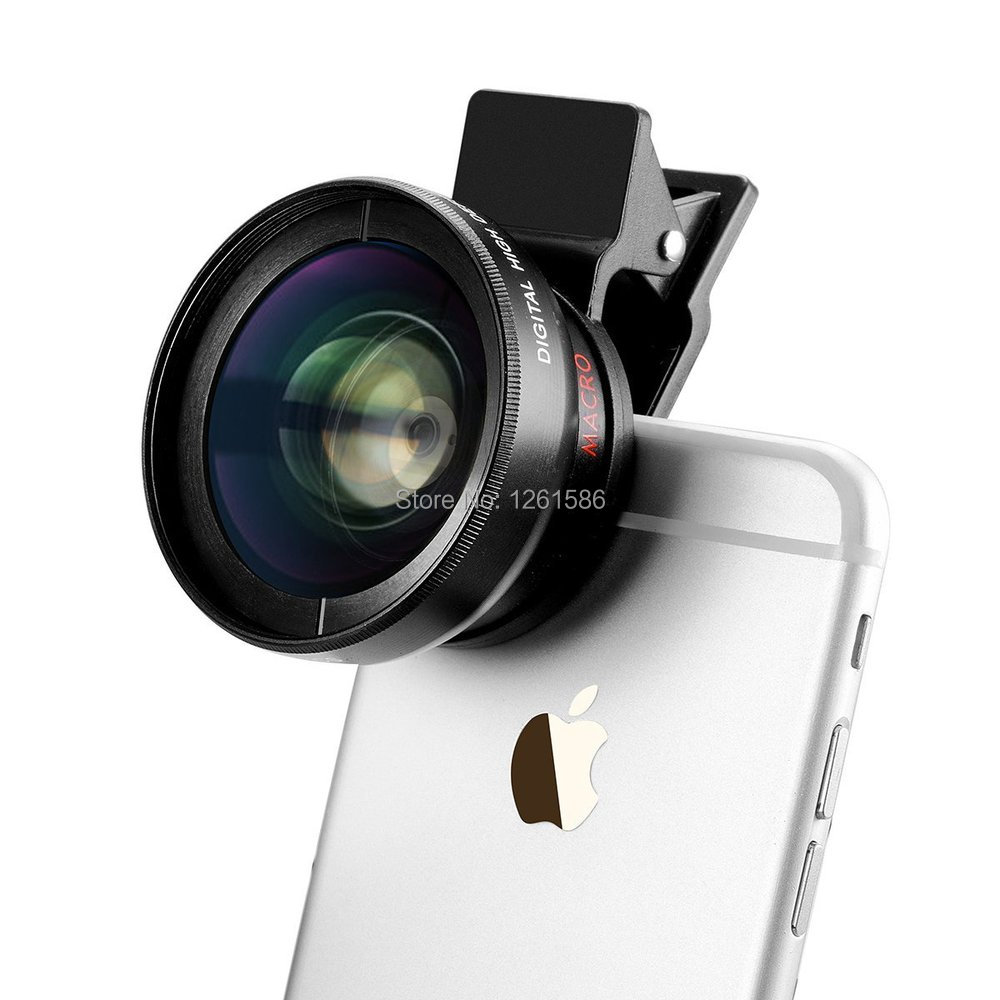 Universal Professional HD Camera Lens Kit for Iphone , Samsung Galaxy  Mobile Phone (0.45x Super Wide Angle Lens + 12.5x Super Macro Lens + 37mm Thread Clip Holder)