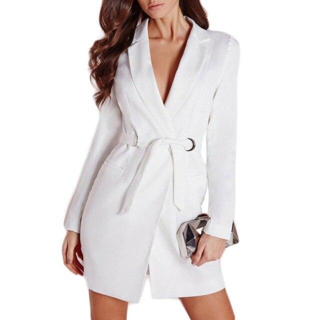 Women Elegant OL Long Blazer Female White Black Cotton Sashes Slim Jacket Suit Fashion Casual Women's Work Blazer Coats Talever