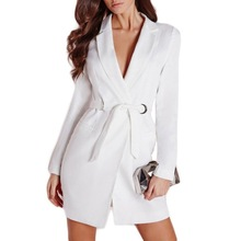 Women Elegant OL Long Blazer Female White Black Cotton Sashes Slim Jacket Suit Fashion Casual Women's Work Blazer Coats Talever