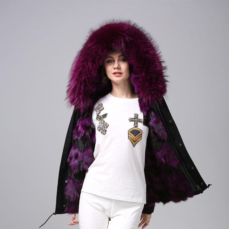 2018 Mhnkro Purple Color Luxury Winter Black Furs Coat Women Raccoon Furs Collar MR MRS Family Wear With Fox Fur Lined Jacket