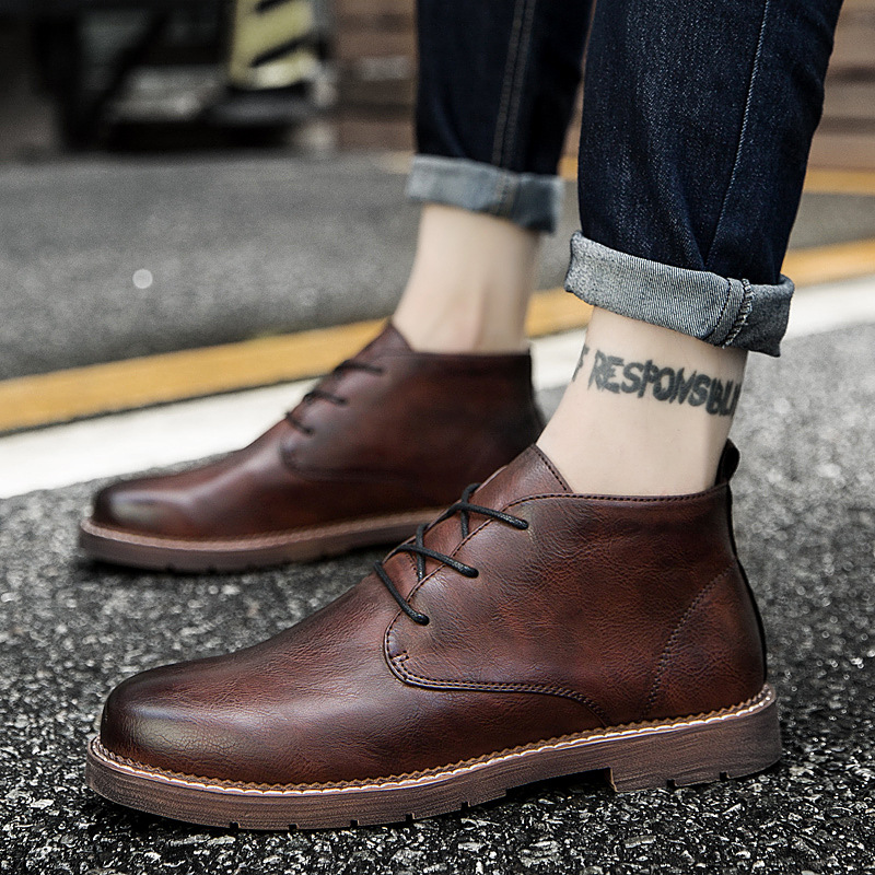 Autumn Men's Casual Boots Fashion Leisure Business Ankle Boots Breathable Lace Up Martin Boots Man Leather High Top Shoes896
