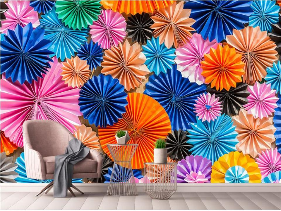 Custom Living Room Mural 3d Photo Wallpaper Non Woven Wall Sticker Creative Color Umbrella Painting Background In Wallpapers From Home
