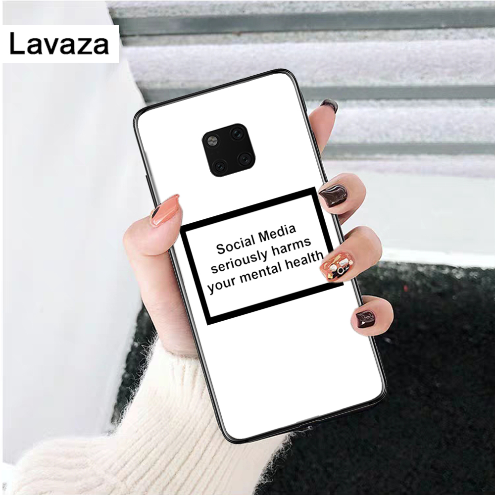 Lavaza Social media harms you Silicone Case for Huawei Mate 10 Pro 20 30 Lite Nova 2i 3 3i 4 5i Y5 Y6 Y7 Prime Y9 in Fitted Cases from Cellphones Telecommunications