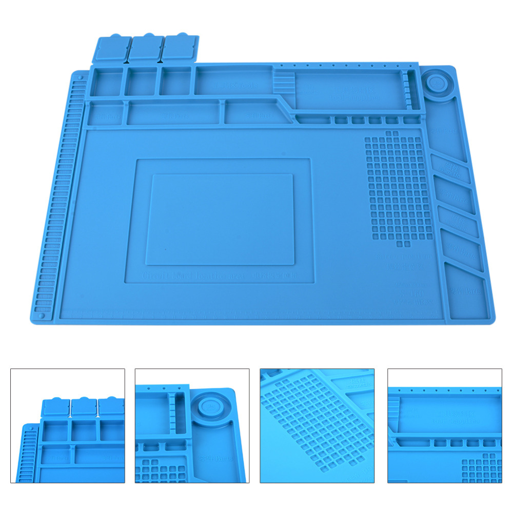 Desk Mat Heat Insulation Silicone Pad Maintenance Platform for BGA Soldering Repair Station with Magnetic Section Hand Tool Set 2 in 1 heat resistant soldering mat silicone insulation mat solder desk pad for bga soldering repair work station