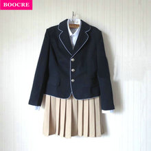 BOOCRE New High School Student JK Uniform Korean Preppy Style Women Girls Uniforms Coat+Shirt+Tie+Skirt