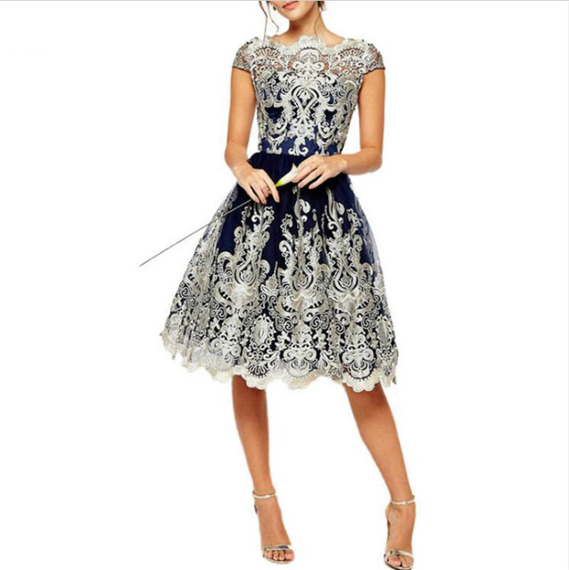 670fea9682a5e US $17.38 16% OFF|Vintage Boat Skin Embossed Lace Printed Skater Dresses  Short Sleeves Round Skin Care Neck Knee length Party speedating-in Dresses  ...