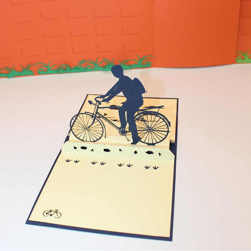 DIY Paper Cut Pop Up Bicycle Greeting Card 3D Handmade Riding A Bike Father's Day Greeting Card With Envelope