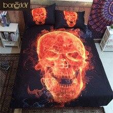 Bonenjoy 3D Skull Bedding Queen Fire Printed Polyester Cotton Bed Sheet Black Bedspread Sugar Skull Quilt Cover Bedding Set