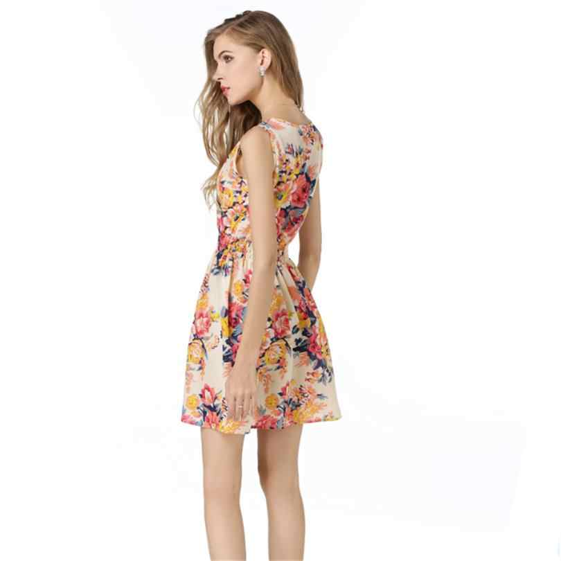 YRRETY женское пляжное платье, летняя одежда с принтом в стиле бохо, вечернее платье без рукавов, повседневный короткий сарафан размера плюс, платье с цветочным рисунком 2019
