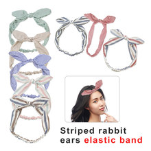 Cute Korean Women Girls Floral Flowers Fabric Bow Knot Hairband Headband Bunny Rabbit Ears Hair Hoop Band Accessories new newborn flowers print floral butterfly bow hairband turban knot for women girls headband hair band accessories