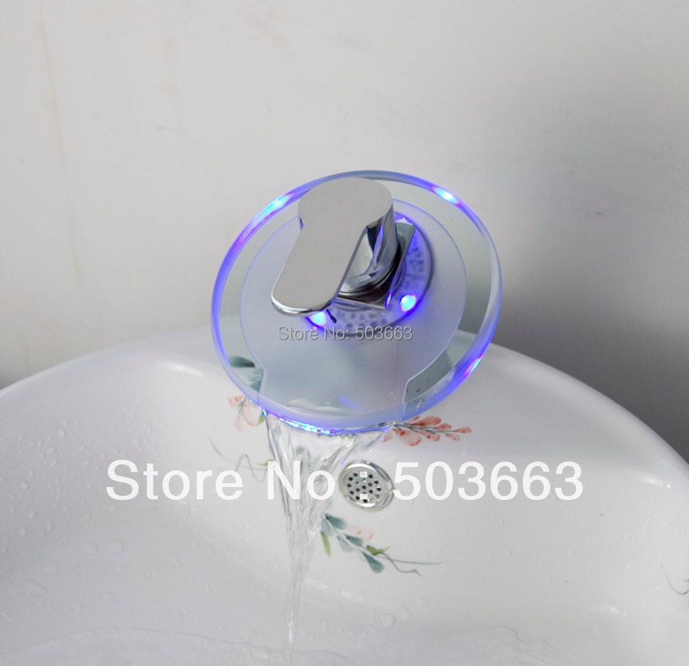 Round Waterfall LED Chrome Battery Deck Mounted Single Handle Mixer Brass Basin Ceramic Sink Vessel  Bathroom Faucet Tap MF-202 brass basin faucet waterfall spout single handle bathroom sink vessel mixer tap deck mounted