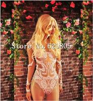 Fashion Sexy Pearls Dance Costume Long Bodysuit Women's Outfit Celebrate Body suit Female Singer Leotard Wear