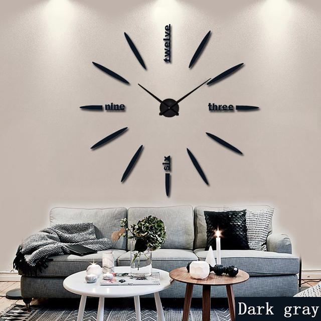 130 cm Factory 2017 Wall Clock Acrylic+EVR+Metal Mirror Super Big Personalized Digital Watches Clocks hot DIY Free shipping