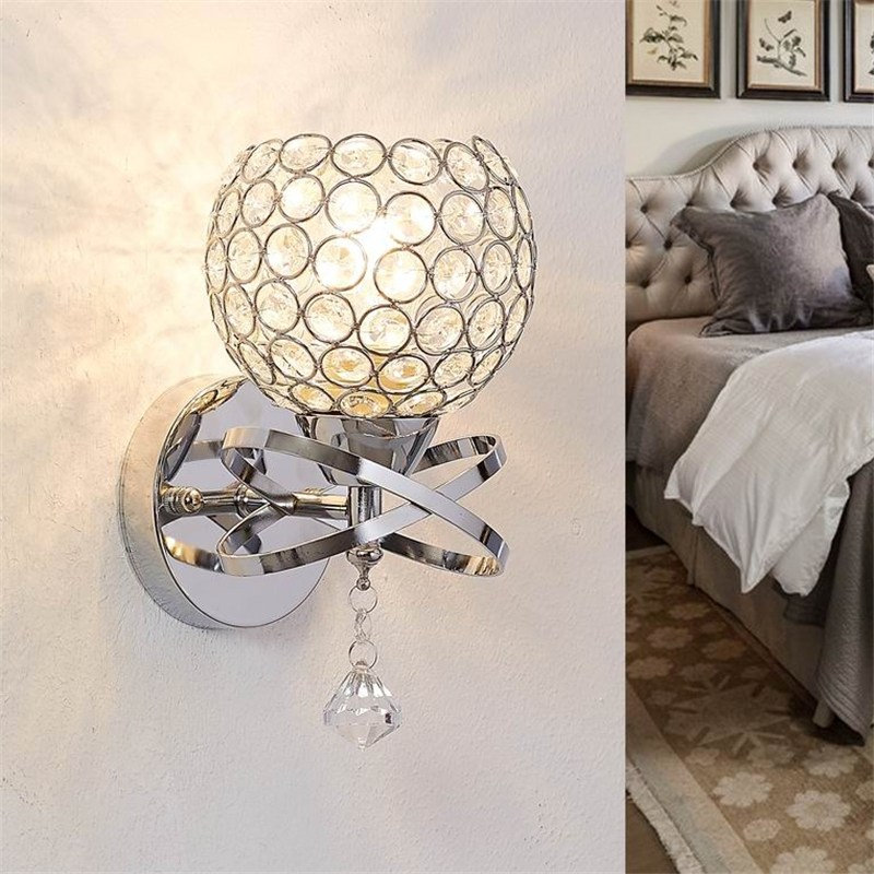 modern crystal wall lamp sconce pull chain cord switch light fixture bedroom hallway indoor lighting home decorin wall lamps from lights